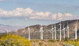 San Gorgonio Pass: přes tři tisícovky vrtulí mezi ohromnými horami