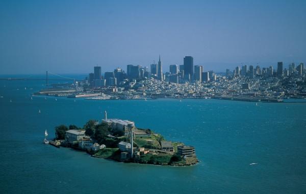 Alcatraz z ptačího pohledu