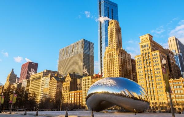 Panorama Chicaga (Illinois) s fazolí