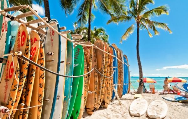 Surfová prkna na Oahu na Havajských ostrovech