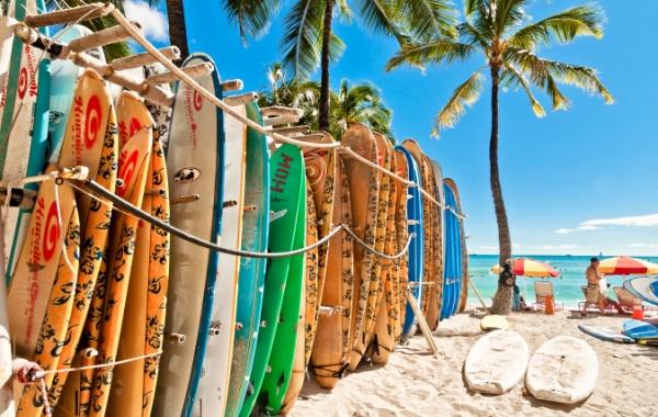 Pláž na Havaji se surfařskými prkny