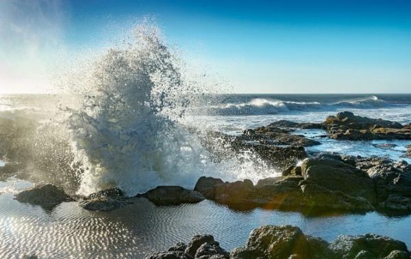Trysk vody z Thorovy studny v Oregonu
