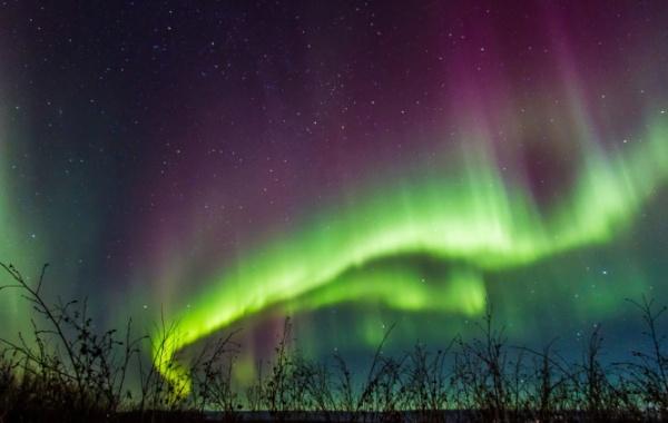 Polární záře na Aljašce.