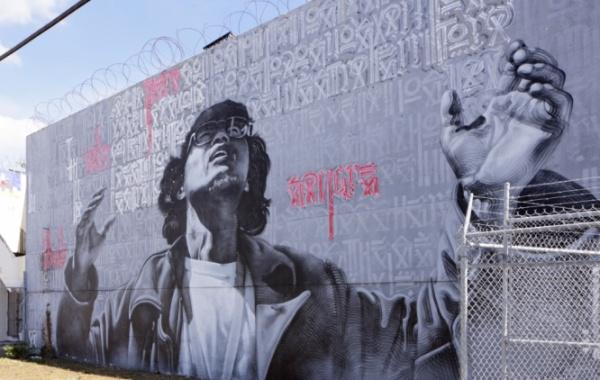 Originální street art ve bývalých skladištních prostorech Wynwood Walls v Miami na Floridě.