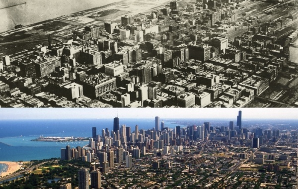 Město Chicago v roce 1920 a dnes v 21. století
