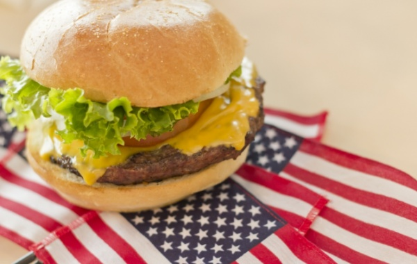 Vlajka USA a cheesburger