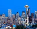 Večerní panorama města Seattle, stát Washington - Amerika.cz